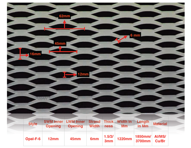Asian Streck Metals - Opal F-6 expanded mesh